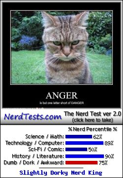 NerdTests.com says I'm a Slightly Dorky Nerd King.  Click to take the Nerd Test, get geeky images and jokes, and talk to other nerds on the nerd forum!
