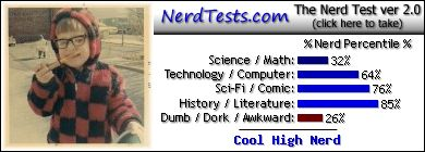 NerdTests.com says I'm a Cool High Nerd.  Click to take the Nerd Test, get nerdy images and jokes, and write on the nerd forum!