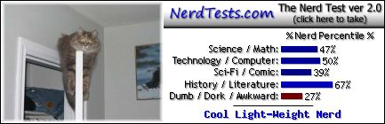 NerdTests.com says I'm a Cool Light-Weight Nerd.  What are you?  Click here!