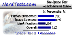 The NerdTests' Space Test says I'm a Space Nerd (Wannabe).  What kind of space nerd are you?  Click here!