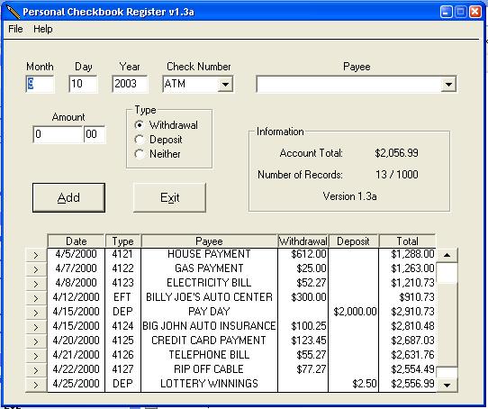 nerdtests com software personal checkbook register