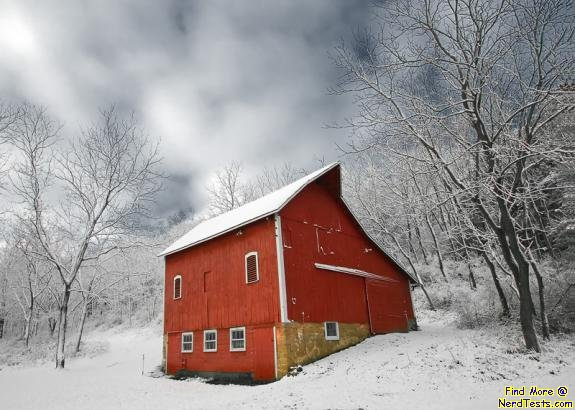 NerdTests.com - Red Barn in Snow