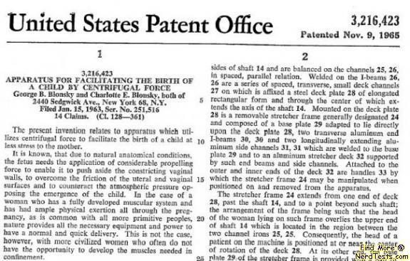 NerdTests.com - Centrifugal Birth Patent