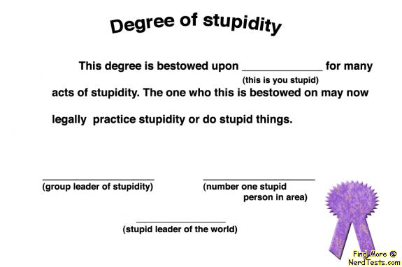 NerdTests.com - Stupid Degree