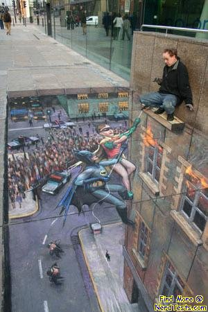 Batman and Robin Sidewalk Art