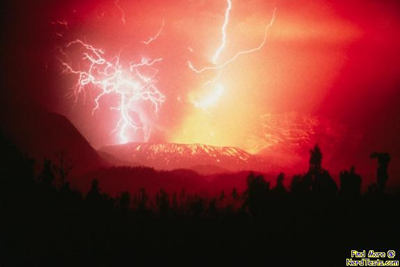 NerdTests.com - Lightning Stirkes Volcano